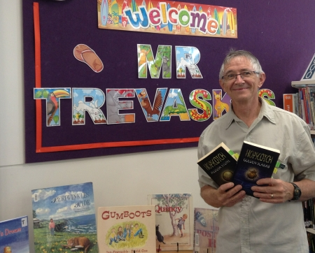 Ian Trevaskis school visit with some of his children's and young adult novels